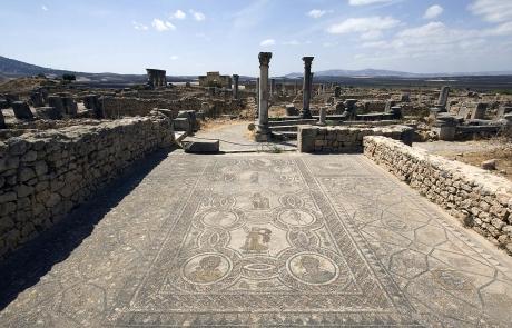 Mosaicos en Volubilis, Marruecos.